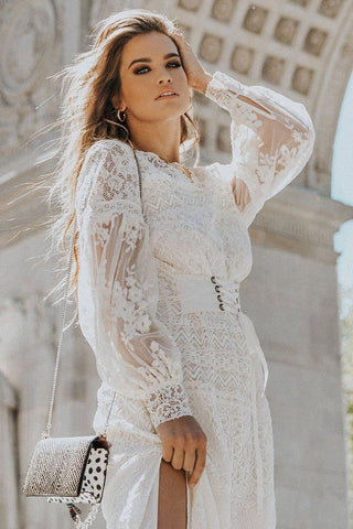 Dawn lace midi dress - cream
