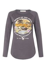 Spirit of Wilderness Organic Raglan - Charcoal