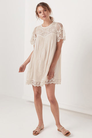 Maggie Embroidered Tunic Dress, Off White