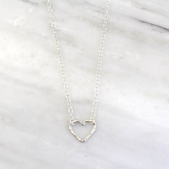 Floating Silver Heart Necklace