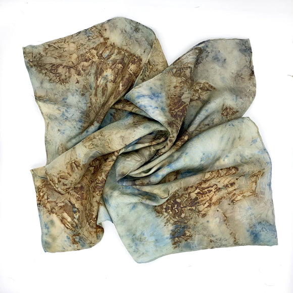 Blue and Rust Silk Bandana scarf