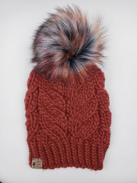 Phoenix Beanie - Burnt Orange Merino Wool (Snap On Pom)
