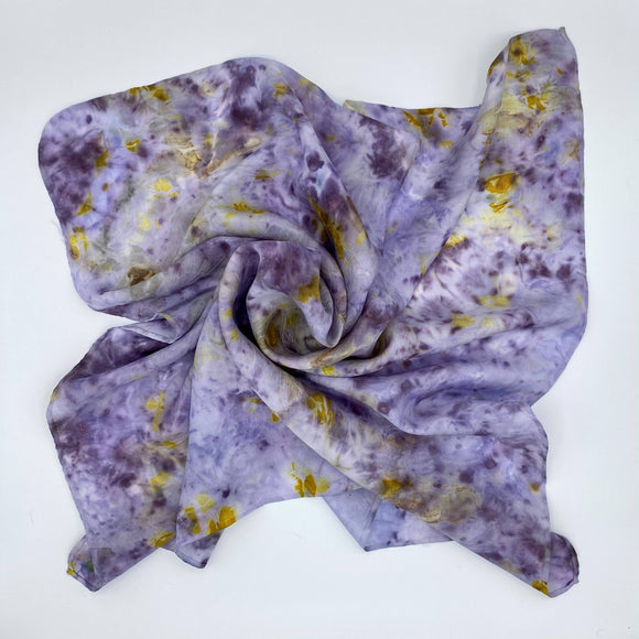 Purple and Yellow Silk Bandana scarf