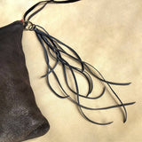 Leather Tassel Key Ring - Charcoal