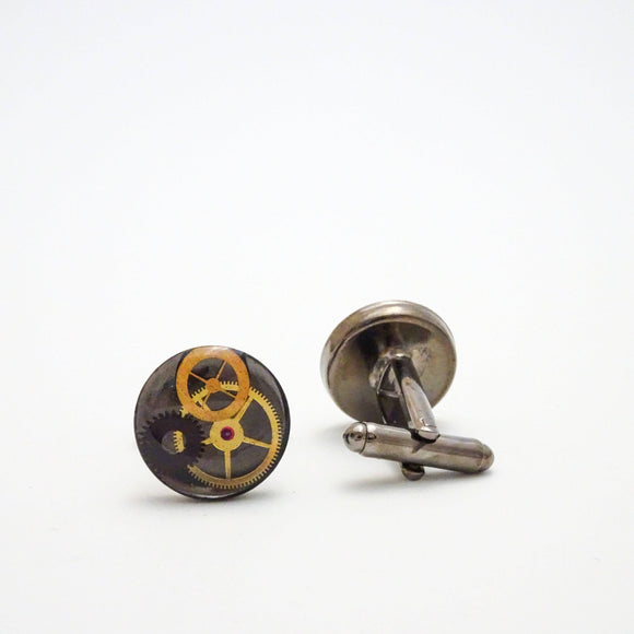 Steampunk Cufflinks | Antique Watch Parts in Resin | Men's Jewelry