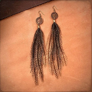 Indian Head Cent & Feather Earrings