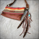 Feather & Leather Bag Clip - Rust