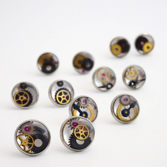 12mm Clockwork Earring Studs | Watch Parts Set in Resin | Steampunk Earrings