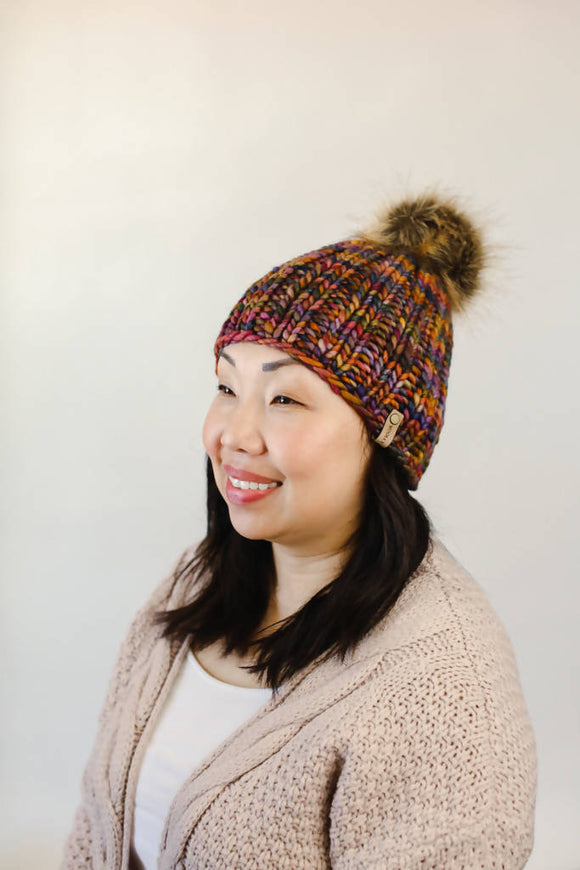 Merino Wool Ribbed Knit Hat with Faux Fur Pom Pom (Multiple Colors Available)