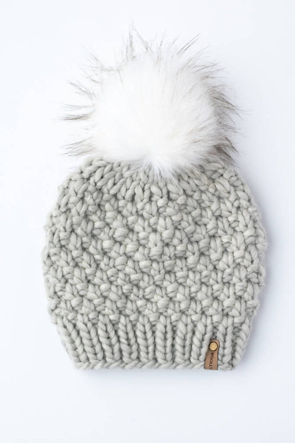 Peruvian Wool Knit Hat with Faux Fur Pom Pom (Multiple Colors Available)