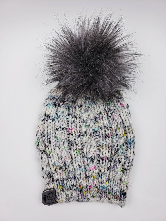 Spindrift Beanie - Toxic Oreo Merino Wool (Snap On Pom)