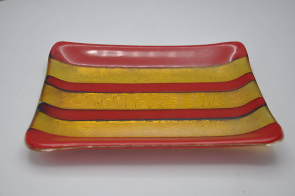 Gold and Red glass dish