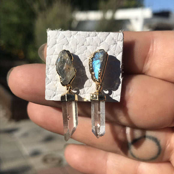 Raw Labradorite + Clear Laser Quartz Earrings
