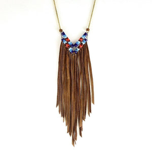 Deer Run Chevron Fringe Necklace