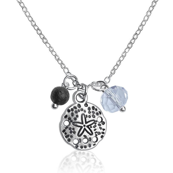 Sand Dollar Necklace with Lava Stone and Clear Crystal