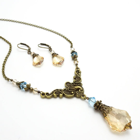 Swarovski Titanic Necklace | Victorian Crystal Necklace & Earrings Set