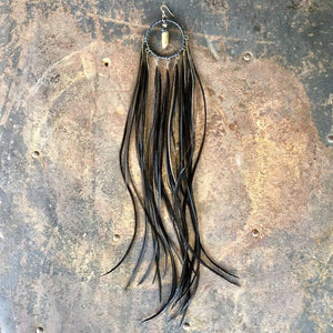 Dreamcatcher Feather Earring - Black