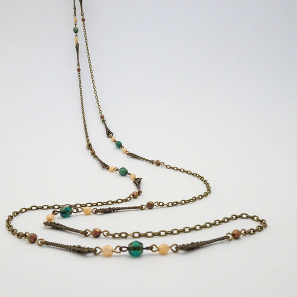 Geometric Long Wrap Necklace | Czech Glass Beads and Chain