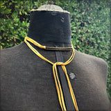 Leather Wrap Choker - Gold