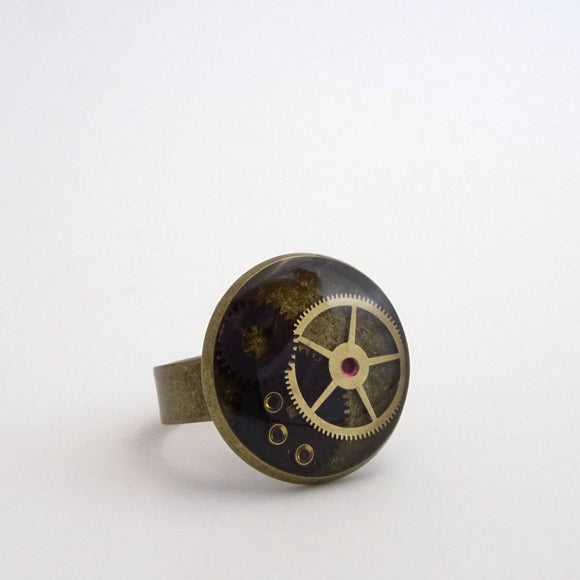 Steampunk Ring | Antique Watch Parts & Watch Rubies in Resin | Adjustable