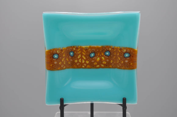 Turquoise dish with murrini tile inset