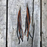 Leather Tassel Earrings - Rust & Black