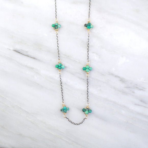 Turquoise Satellite Mixed Metal Necklace