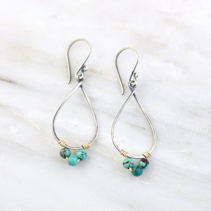 Turquoise Wrapped Teardrop Mixed Metal Hoop Earrings