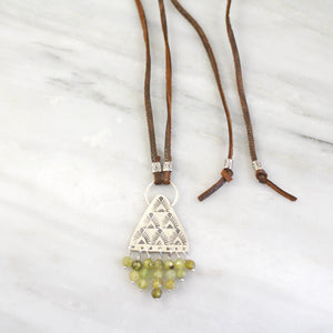 Tribal Triangle Fringe Green Garnet Leather Necklace
