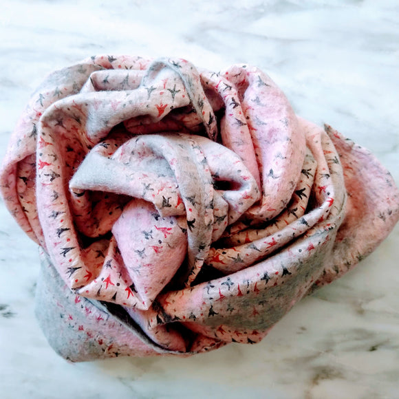 SHERPA Wool felted silk scarf - Powder