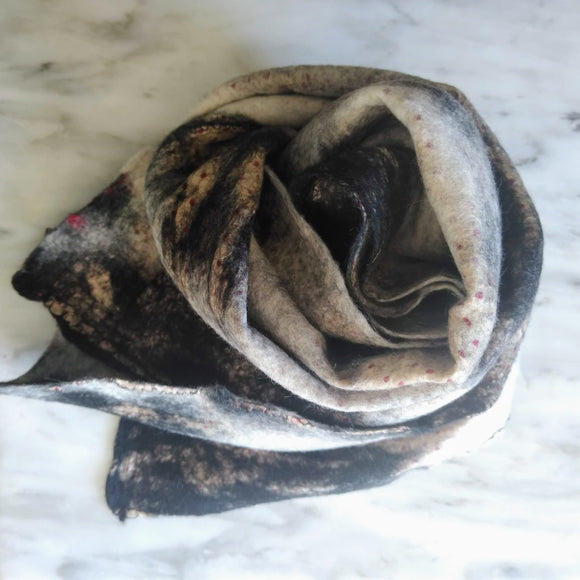 SHERPA Wool felted silk scarf - Black with Dots
