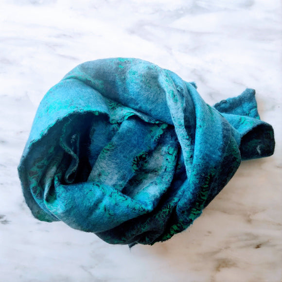 SHERPA Wool felted silk scarf - Teal blue