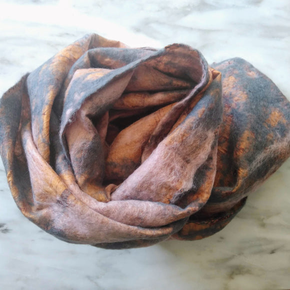 SHERPA Wool felted silk scarf - Travertine