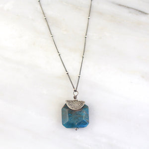 Apatite Burst Stamped Silver Necklace