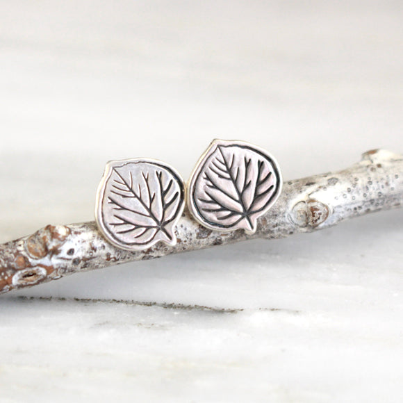 Aspen Leaf Silver Post Earrings