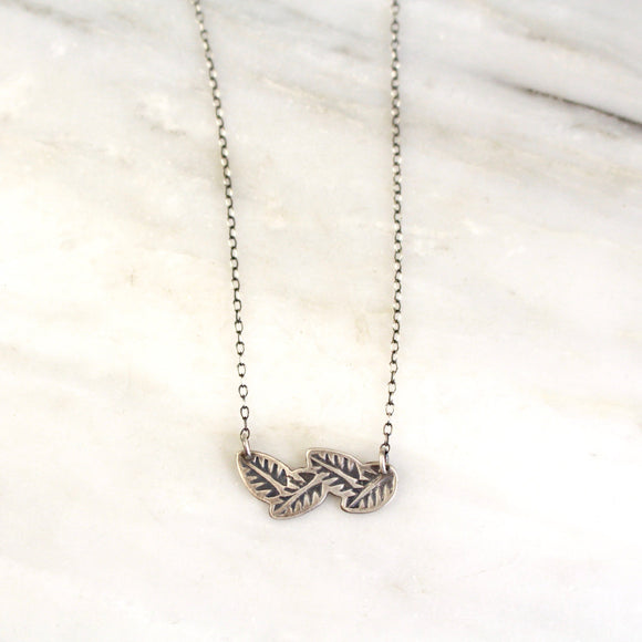Stamped Leaves Garland Bar Necklace