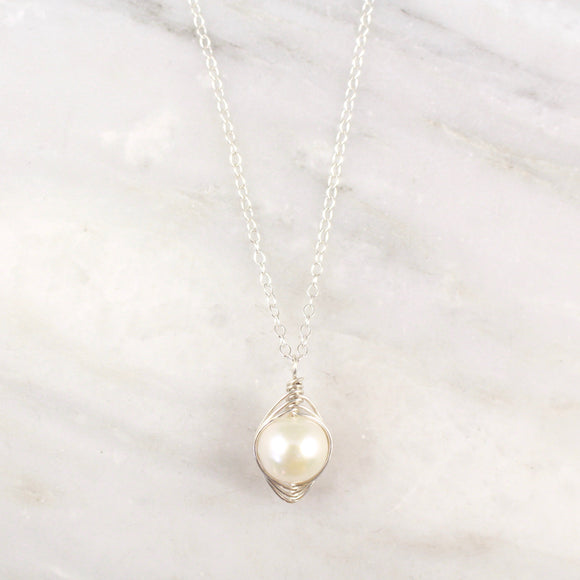 Perfect Pearl Wrapped Silver Necklace