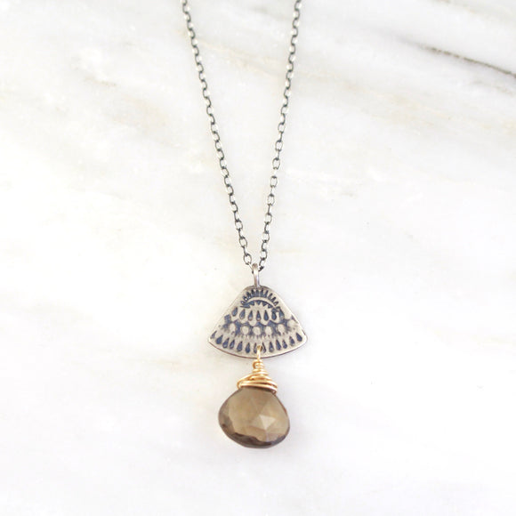 Asmi Triangle Mixed Metal Smoky Quartz Necklace