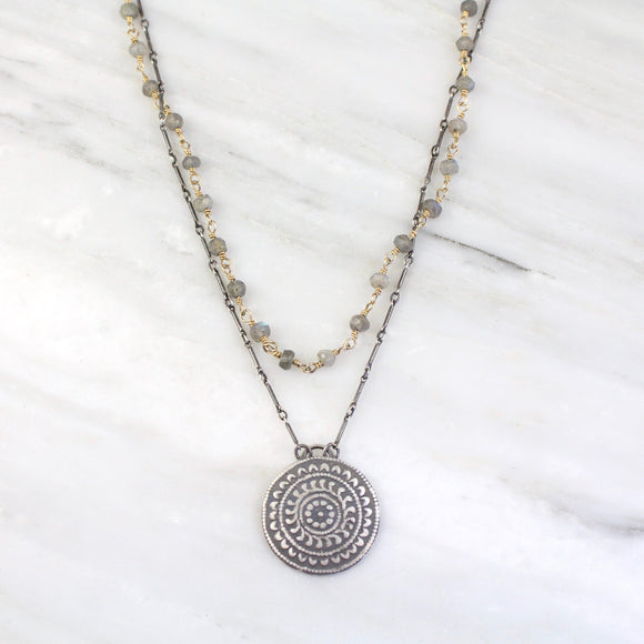 Surya Medallion Double Strand Labradorite Necklace