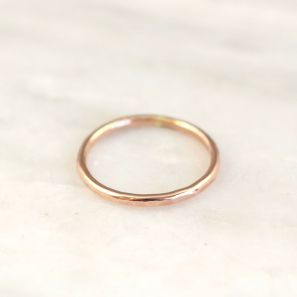 Simple Hammered Rose Gold Band Ring