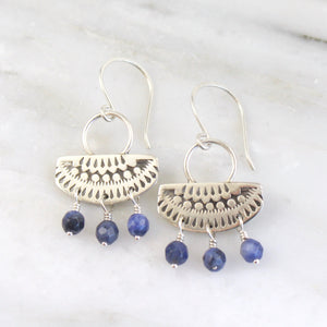 Asmi Short Loop Sodalite Dangle Earrings