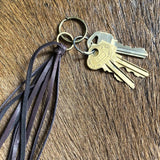 Leather Tassel Key Ring - Chocolate