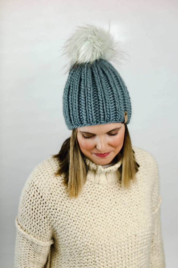 Peruvian Wool Ribbed Knit Hat with Faux Fur Pom Pom (Multiple Colors Available)