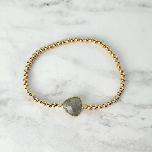 Labradorite and Gold Bead Stretch Bracelet