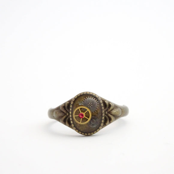Petite Steampunk Ring | Antique Watch Parts and Watch Rubies in Resin