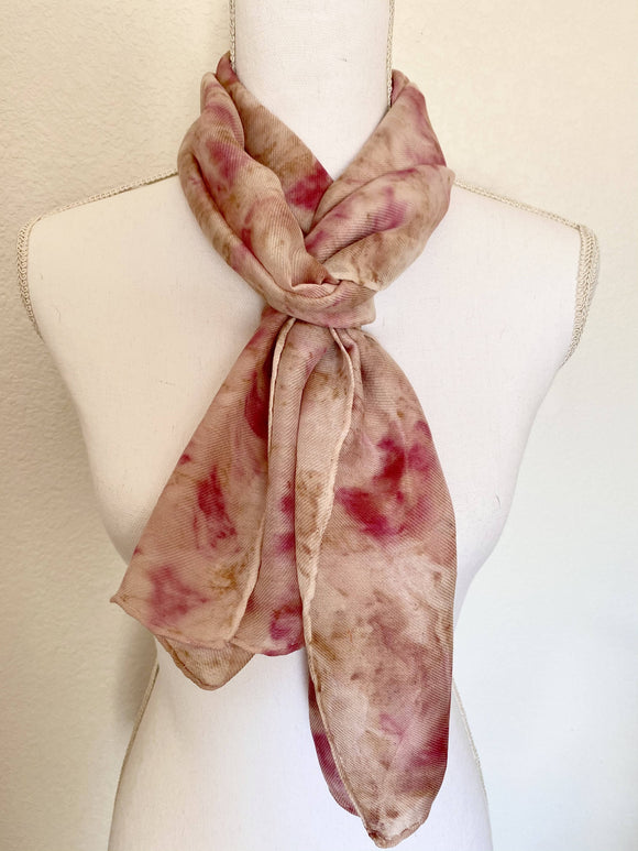 Dusty Rose and Pink Silk and Wool Scarf