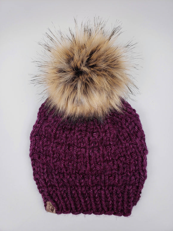 Sophie Beanie - Merlot (Snap On Pom)
