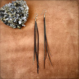 Mini Feather Earrings - Black