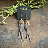 Leather & Feather Mini Earrings - Charcoal/Pheasant