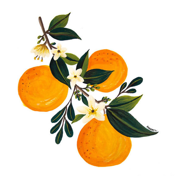 Oranges & Flower Buds Print